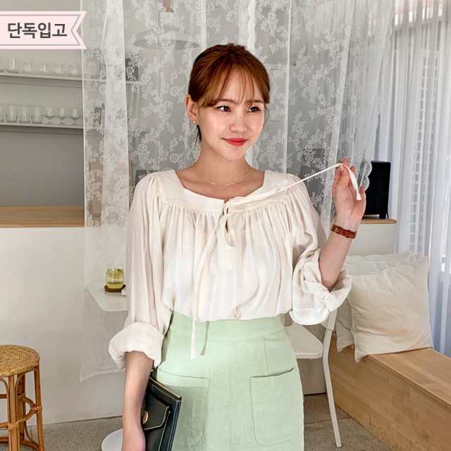 Square-Neck Sheer Blouse