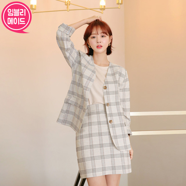 Linen Blend Checkered Jacket and Skirt Set