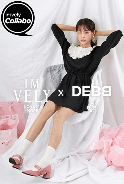 [IMVELY X DEBB] Contrast Yoke A-Line Dress