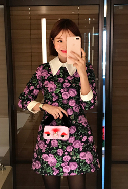 Contrast Collar Floral Print Dress