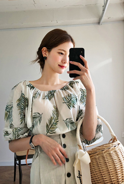 Foliage Print Off-Shoulder Blouse