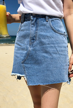 Uneven Raw Hem Denim Skirt
