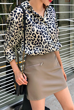 Zipper Accent Coated Skirt