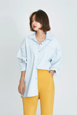 Snap-Up Loose Fit Denim Shirt