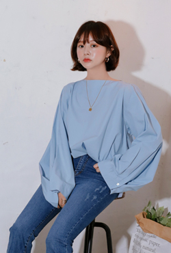 Boat Neck Pleated Sleeve Blouse